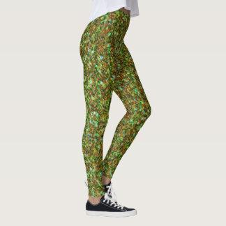 Legging Luz - verde & textura do brilho de Brown