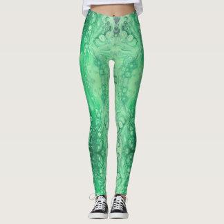 Legging Malaquite abstrata do verde da jóia