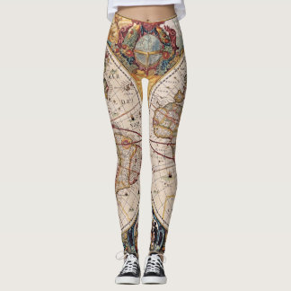 Legging Mapa antigo do mundo