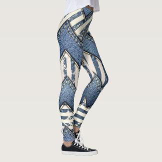Legging Meios mistos abstratos da sarja de Nimes