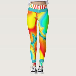 Legging Moderno colorido do fractal psicadélico