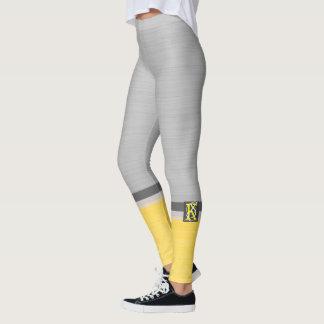 Legging Monograma amarelo e cinzento do tom dois simples