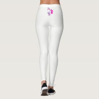 Legging Motivo floral pequeno branco em caneleiras da