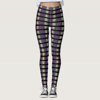 Legging Multi-cor das caneleiras da ilusão óptica/linhas