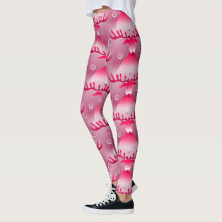 Legging Natal cor-de-rosa Funky da rena