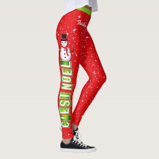 Legging Natal de NOEL/boneco de neve de C'EST (seu nome)