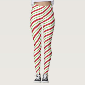 Legging Natal listrado do bastão de doces vermelho e verde