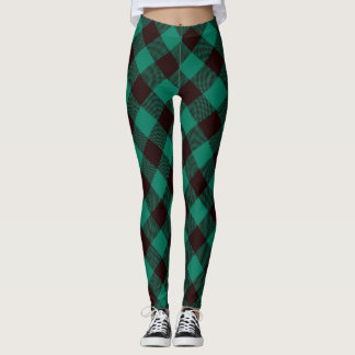 Legging Natal verde e preto do búfalo da xadrez do teste