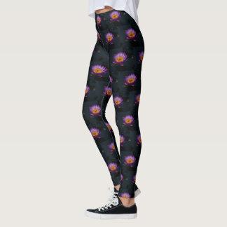 Legging Ninfa roxa da libélula de Lotus Waterlily