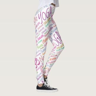 Legging Nomes coloridos Pastel de posições da ioga