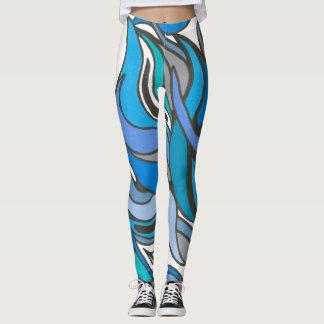 Legging O azul acena caneleiras completas do comprimento