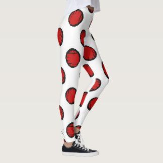 Legging O branco com vermelho pontilha caneleiras