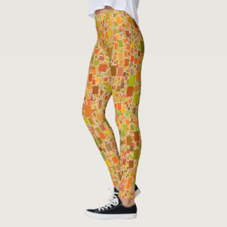 Legging O eco do outono telhou o design abstrato dos