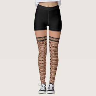 Legging O Fishnet do falso do monograma do laço de Bels de