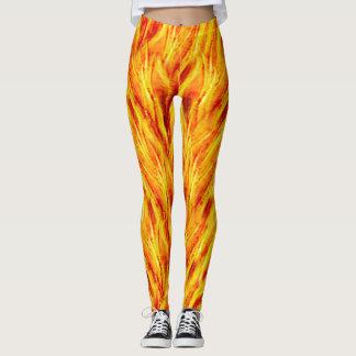 Legging O fogo amarelo brilhante arde caneleiras quentes