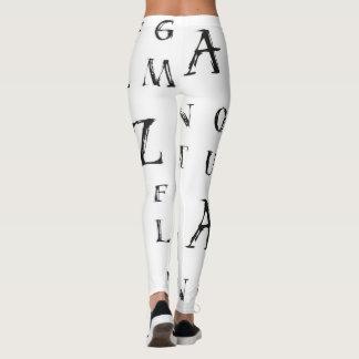 Legging O Grunge das caneleiras do alfabeto rotula preto e