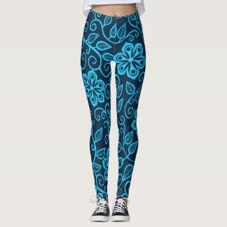Legging Obscuridade e ioga floral azul de Lite