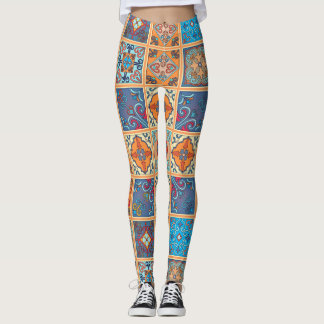 Legging Ornamento de talavera do mosaico do vintage