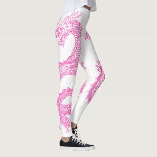Legging Os dragões cor-de-rosa personalizam a cor do fundo