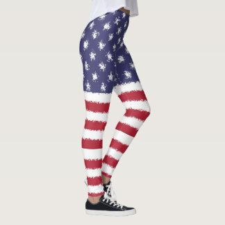 Legging Os EUA embandeiram caneleiras patrióticas