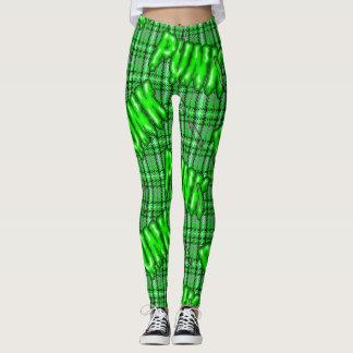 Legging Os grafites inspiraram o tartan podre snotty verde