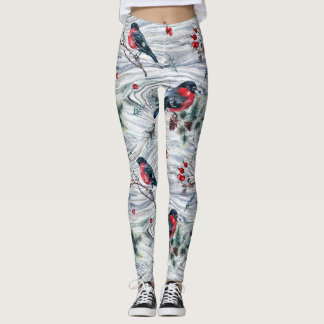Legging Os pássaros do Woodgrain do inverno ilustraram