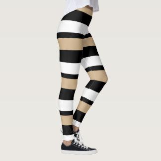 Legging Ouro preto & branco Horizontal-Listrados