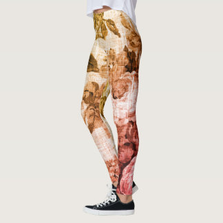 Legging Ouro & vintage cor-de-rosa Toile floral botânico