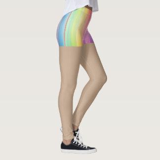 Legging Partes inferiores do arco-íris das caneleiras do