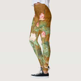 Legging Pássaro de Lilypad das flores de Lotus por todo o