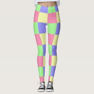 Legging Pastel sem emenda teste padrão verificado colorido