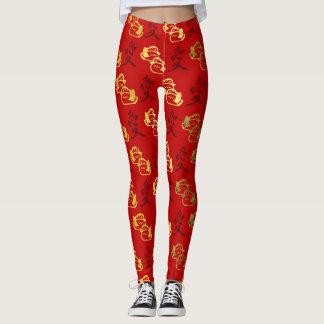 Legging Patos de mandarino do ouro & teste padrão chinês