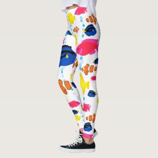 Legging Peixes tropicais lunáticos coloridos dinâmicos