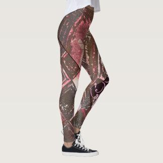 Legging Peltre e caneleiras abstratas do rosa II