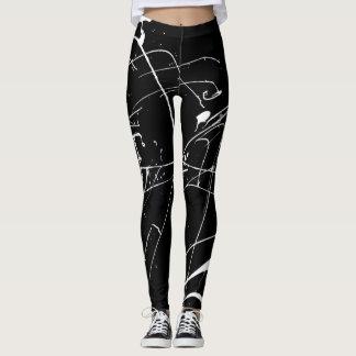 Legging Pintura preto e branco Splat