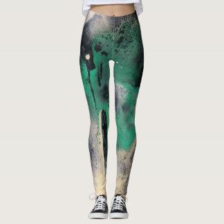 Legging Pintura verde abstrata da aguarela