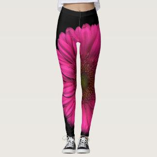 Legging Plantas na margarida cor-de-rosa das calças