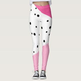 Legging Pontos pretos de couro cor-de-rosa geométricos