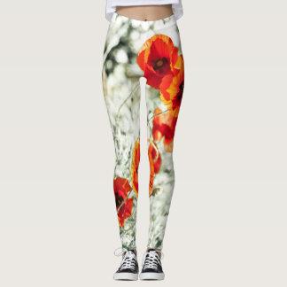 Legging Poppy flowers all over in warm sunny tones