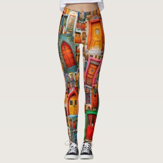 Legging Portas do colorido original do mundo