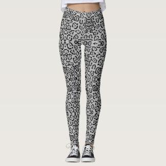 Legging Prata animal do impressão do gato do leopardo
