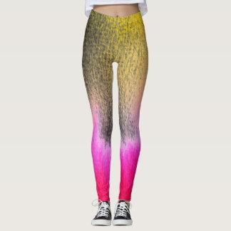 Legging Preto de néon do rosa quente do hipster do ikat da
