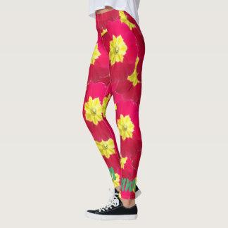 Legging Prímula vermelha e amarela floral brilhante