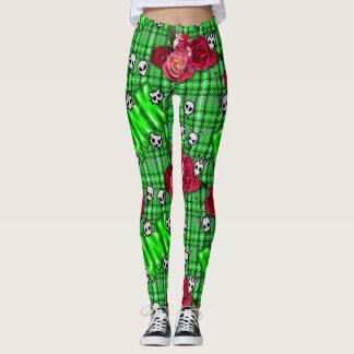 Legging Punk dos grafites e tartan snotty verdes dos rosas