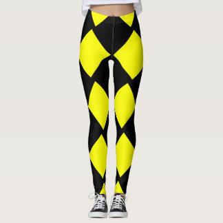 Legging Quadrados amarelos e pretos do tabuleiro de damas