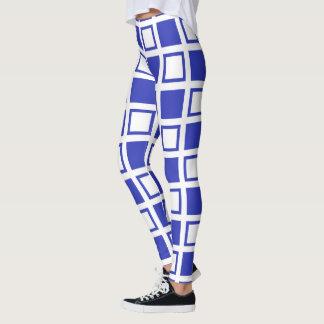 Legging Quadrados pretos e azuis