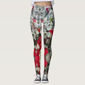 Legging Quadril e design cinzento vermelho à moda da flor