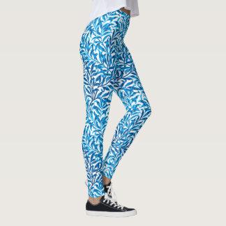 Legging Ramo, azuis cobaltos & branco do salgueiro de