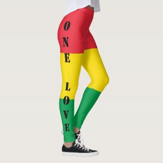 Legging Rasta colore o teste padrão vermelho amarelo verde