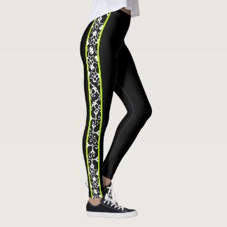 Legging Redemoinhos modernos à moda verdes brancos pretos